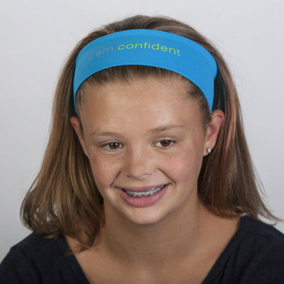 i am confident turquoise headband with positive message
