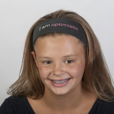 i am optimistic grey headband with positive message
