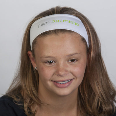 i am optimistic white headband with positive message