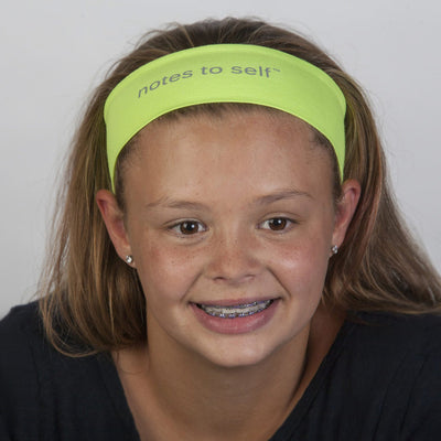 i am smiling neon yellow headband with positive message