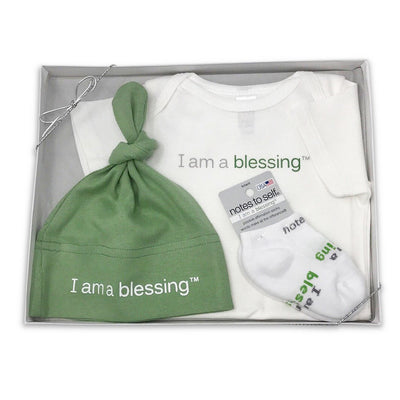 I am a blessing baby sock hat one-piece shirt green gift set
