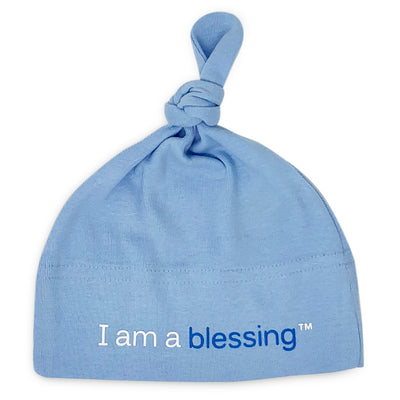 i am a blessing blue baby hat for boys