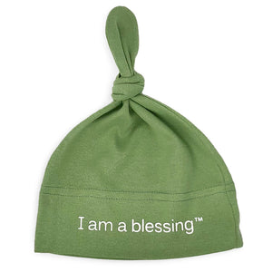 i am a blessing green baby hat