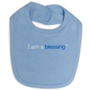 i am a blessing blue baby bib for boys