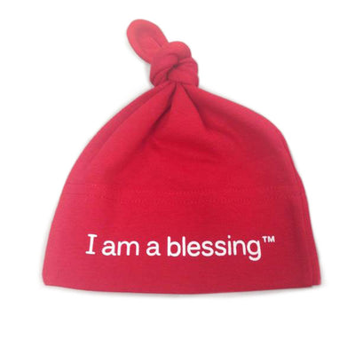 i am a blessing baby hat red