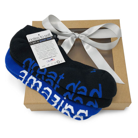 'I am a great dad'® black socks + 'I am amazing'® blue socks gift set in brown gift box