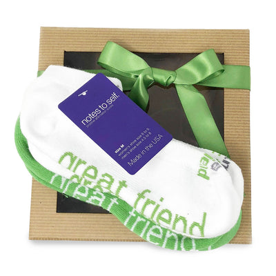 sock gift set i am a great friend socks in green and white