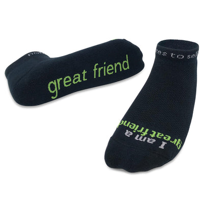 I am a great friend socks in black