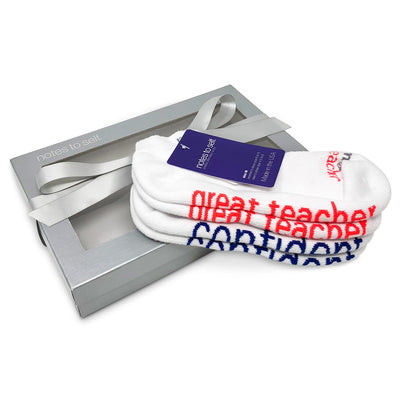 teachers gift i am a great teacher i am confident socks in silver gift box