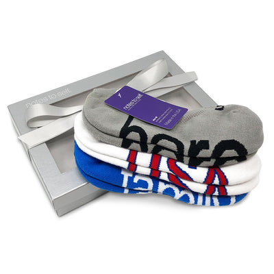 we are awesome usa socks i am home family socks i am a hero socks in silver gift box