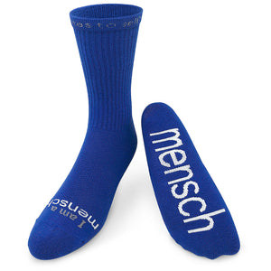 i am a mensch crew socks with jewish words of inspiration