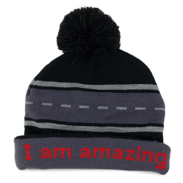 i am amazing beanie hat with positive affirmation inside