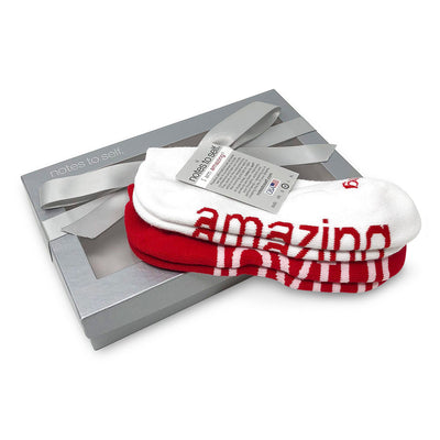 i am amazing i am joyful red and white sock gift set in box