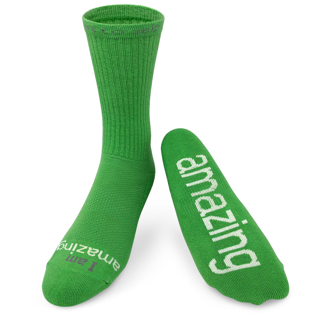 i am amazing green crew socks