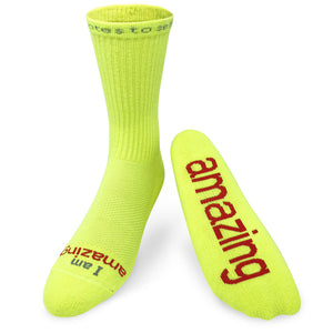 i am amazing neon yellow crew socks