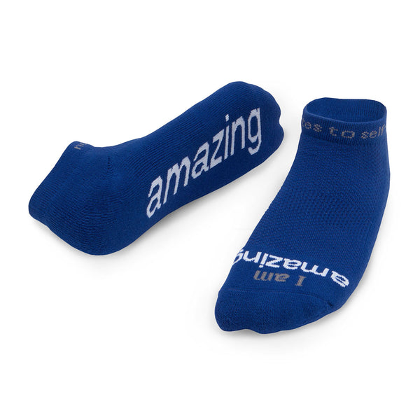 i am amazing blue low cut socks