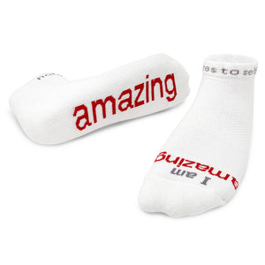 i am amazing white socks with inspirational message
