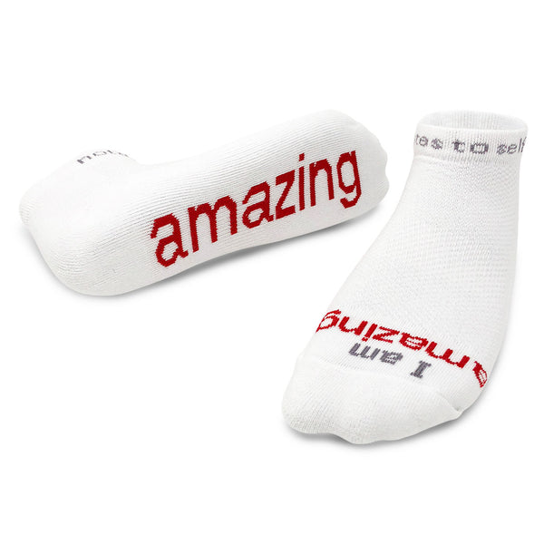 i am amazing white socks with red words