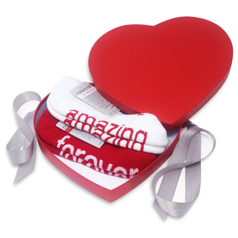 sock gift set i am amazing socks i love you forever socks in red heart box