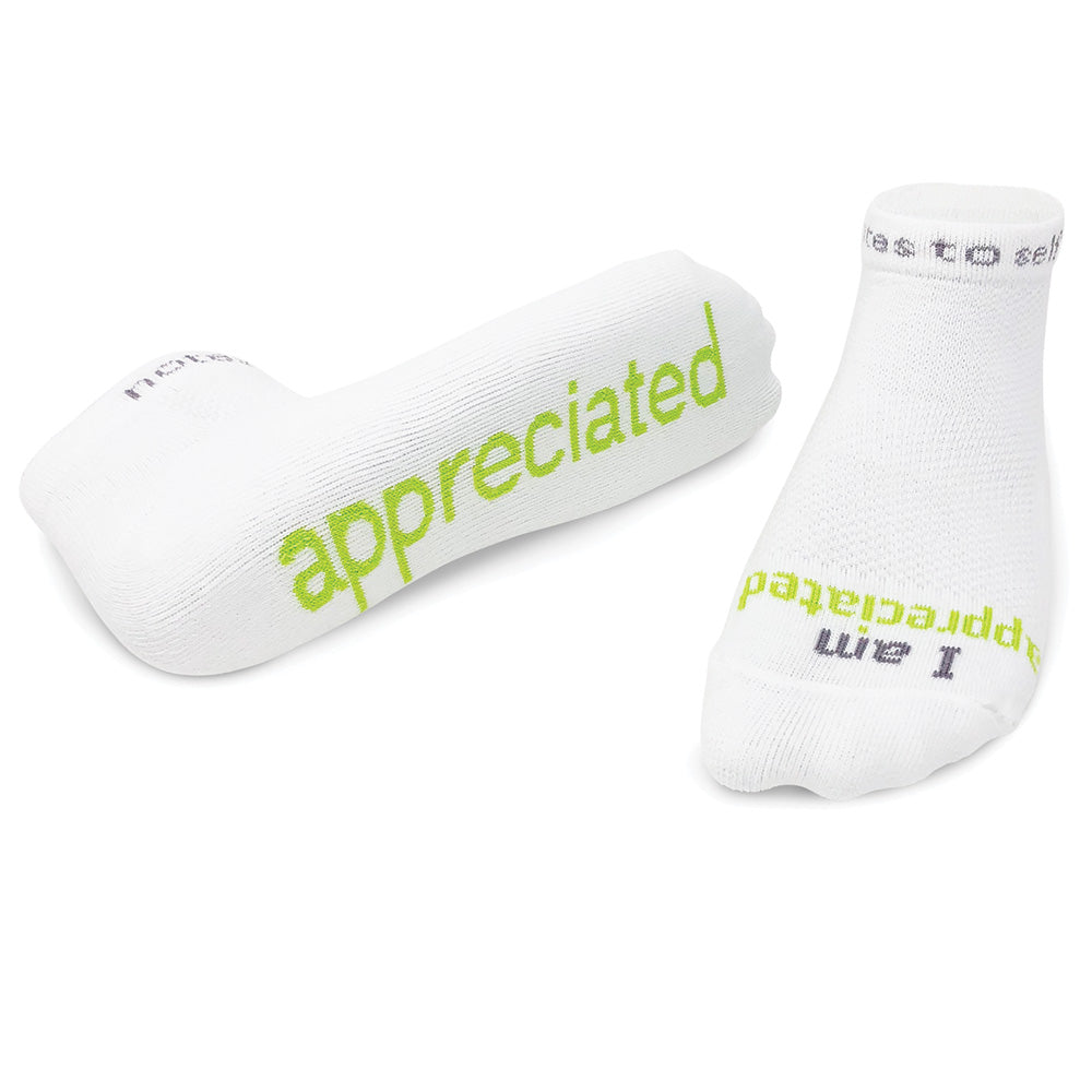 'I am appreciated'™ white low-cut w/ lime green words