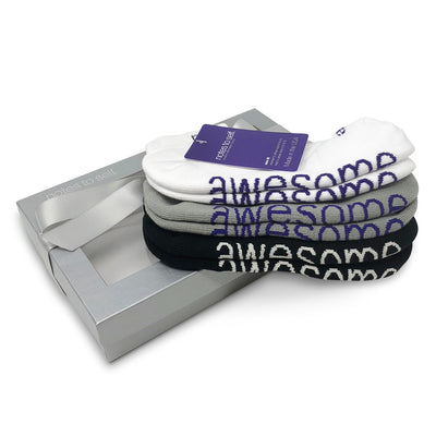 i am awesome sock gift set in silver gift box
