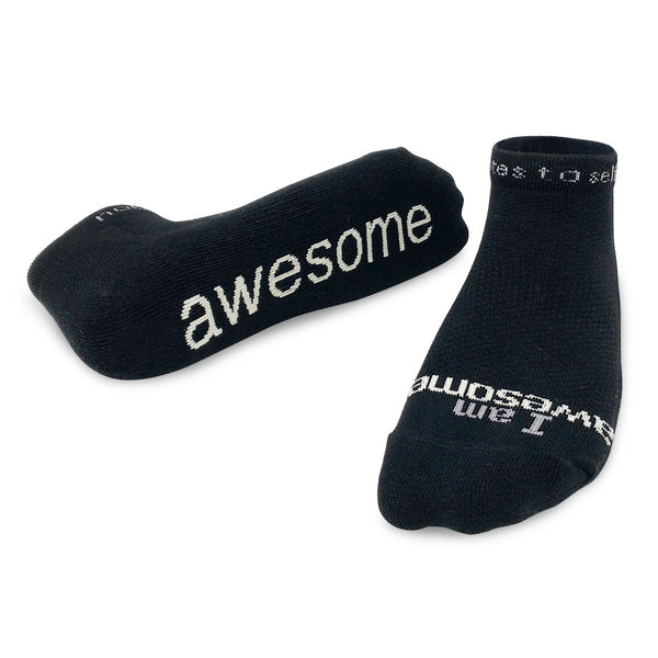 i am awesome black low cut socks