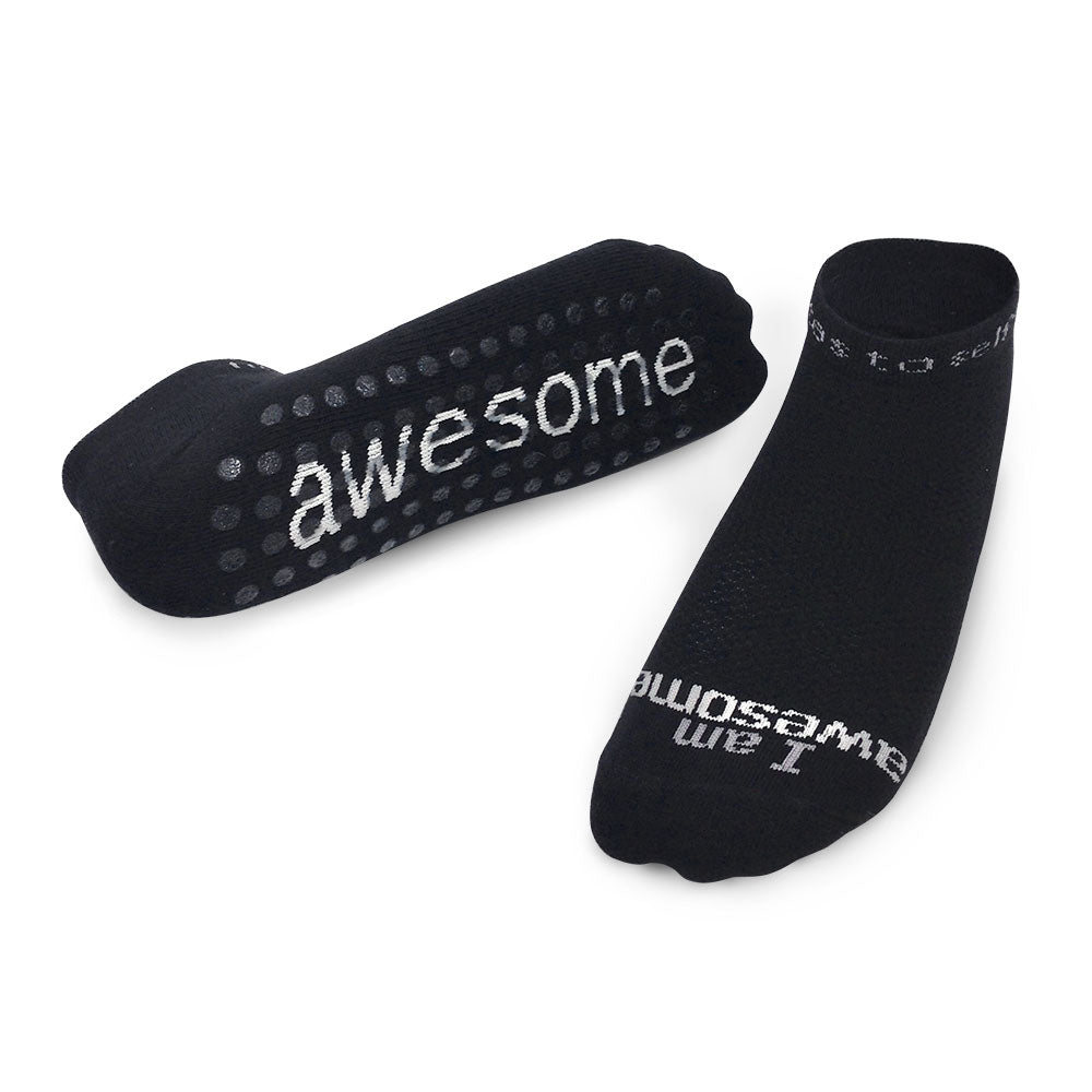 i am awesome black socks with grips and positive message