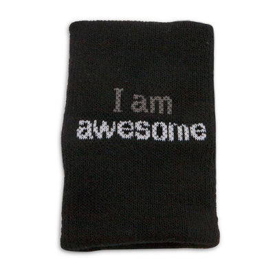 i am awesome black wristband with positive affirmation