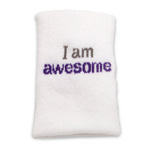 i am awesome white wristband with inspirational words