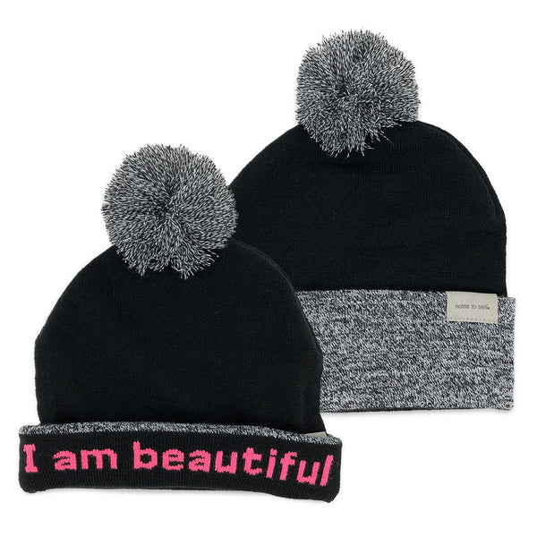 i am beautiful beanie hat shown with single and double cuff