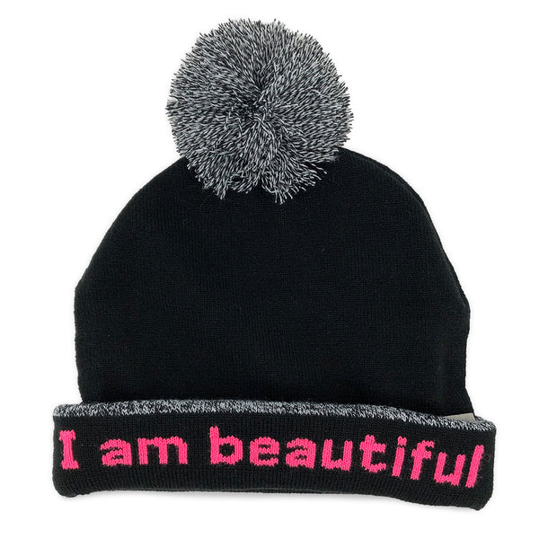 i am beautiful beanie hat with positive affirmation inside