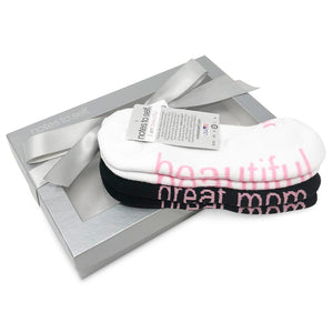 sock gift set for her i am a great mom socks i am beautiful socks in silver box