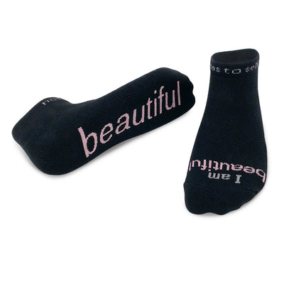 i am beautiful black socks for women