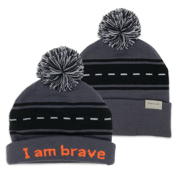 i am brave beanie shown with single and double cuff