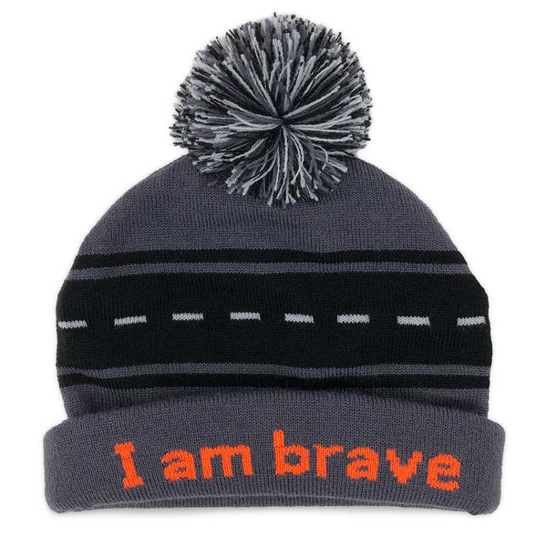 i am brave beanie hat with positive affirmation inside