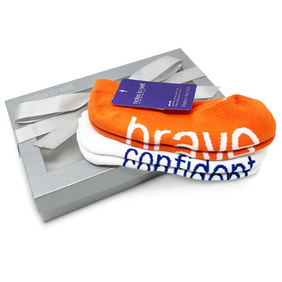 sock gift set i am brave socks i am confident white socks in silver box