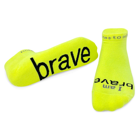 i am brave socks with a positive message