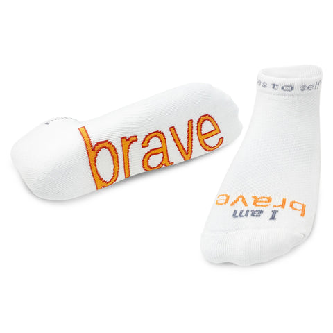 i am brave white socks with motivational message