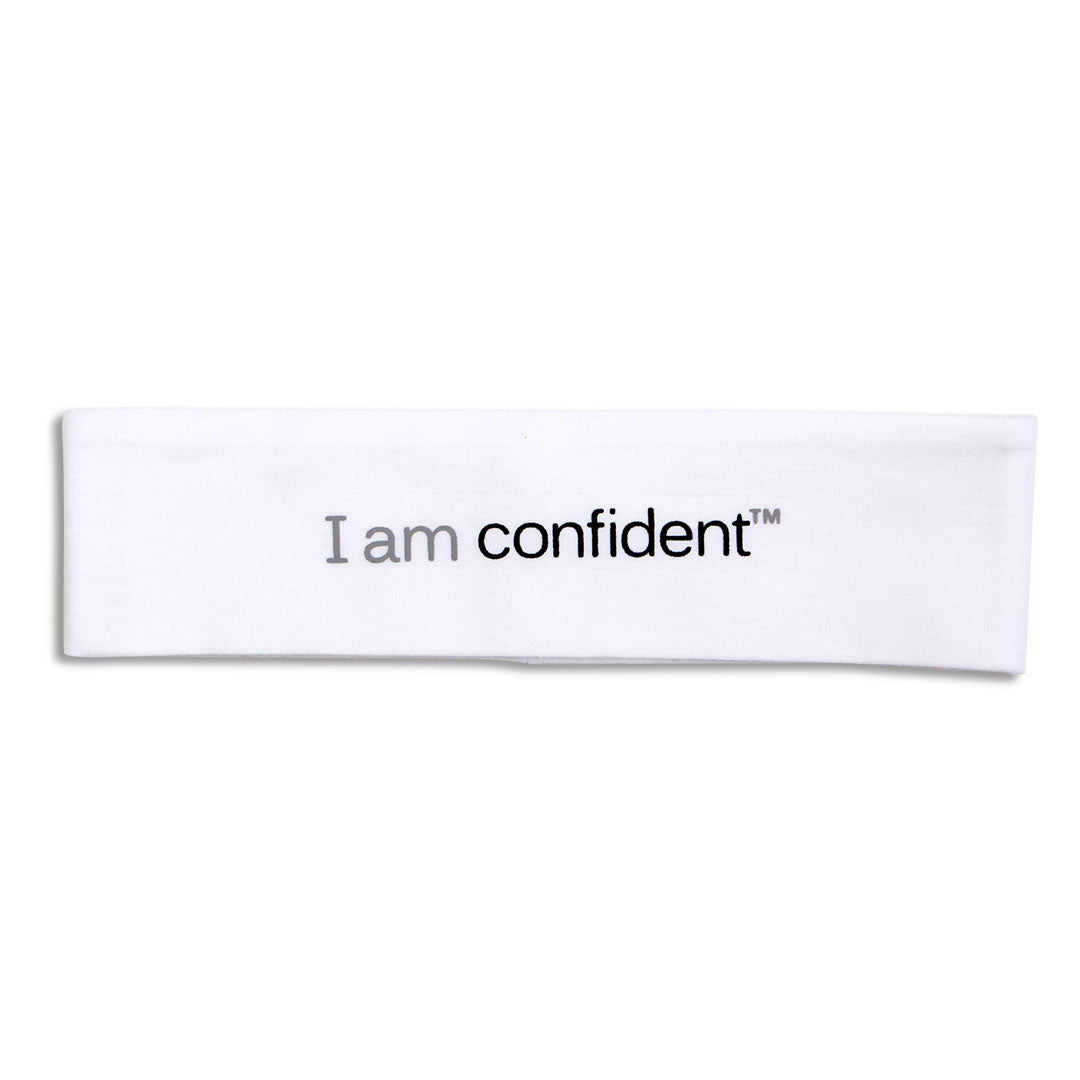 i am confident white headband with positive message