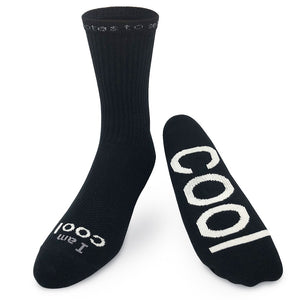 i am cool black crew socks