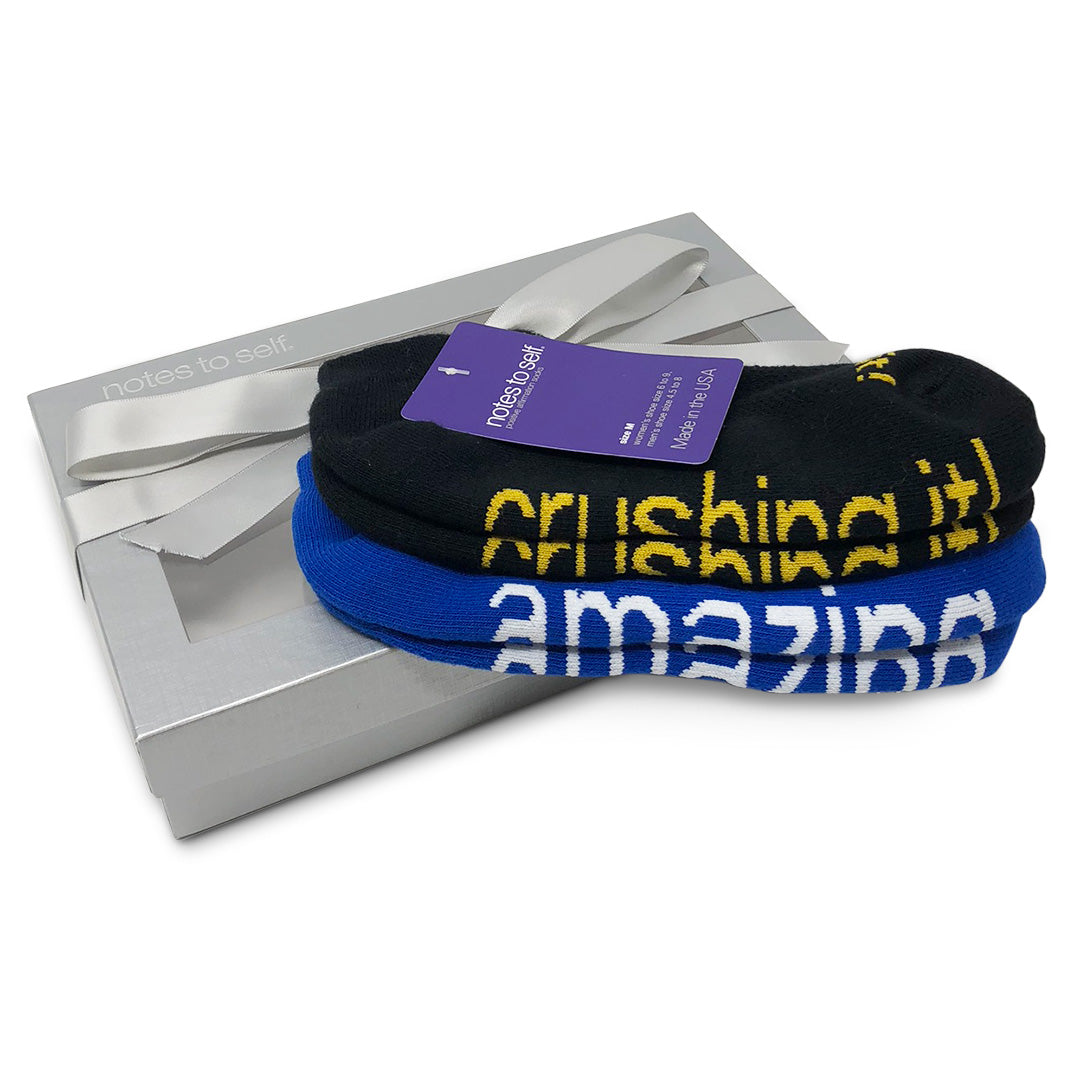 sock gift set i am amazing blue socks i am crushing it socks in silver box
