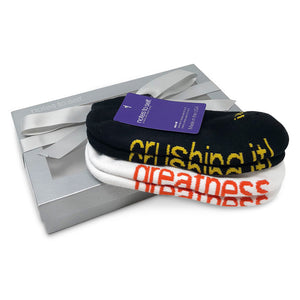 sock gift set i am destined greatness socks i am crushing it socks with gary vaynerchukin words in gift box