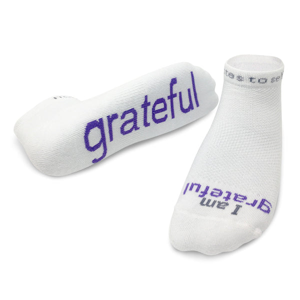 i am grateful white low cut socks