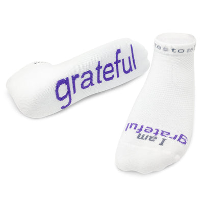 i am grateful socks with positive affirmation message