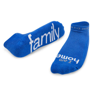 i am home family socks with positive message