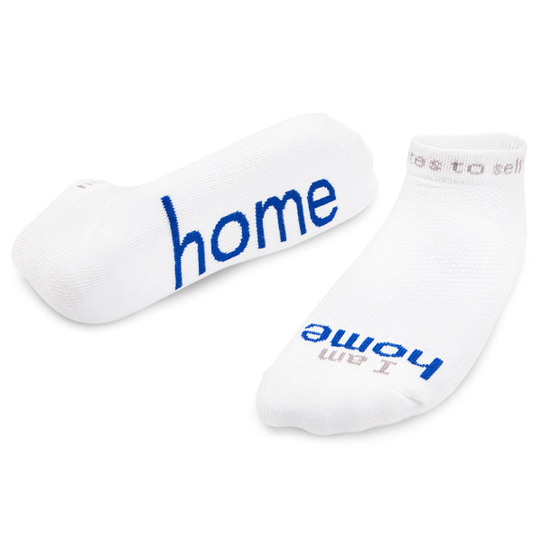 i am home white socks with positive message