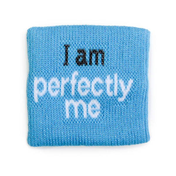 i am perfectly me aqua blue wristband with positive message