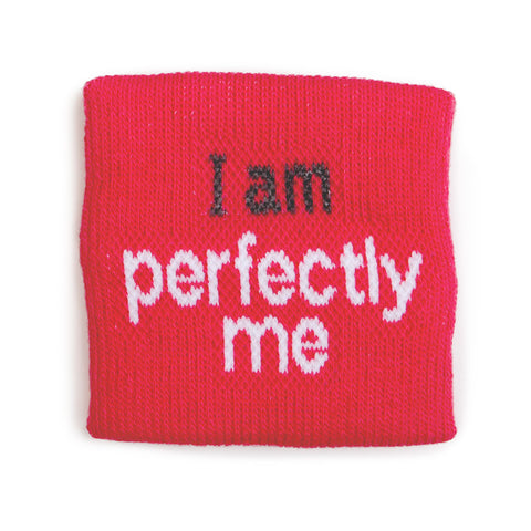 i am perfectly me wristband for girls in bright pink