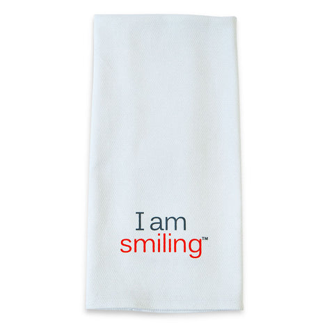 i am smiling cotton towel with positive words