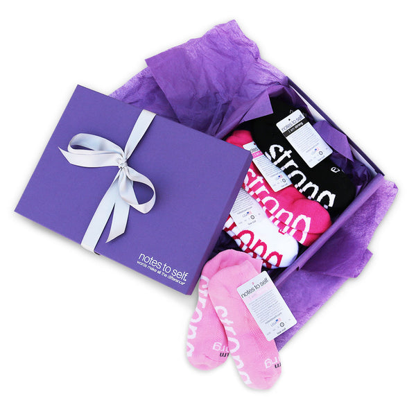 4 pair sock gift set i am strong socks in purple box